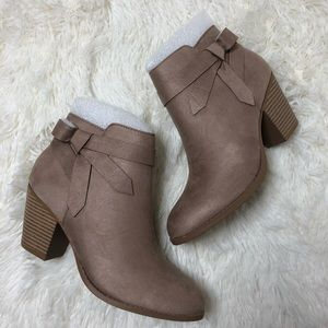 Vegan Suede Ankle Bootie with Bow Detail